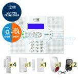 Kit SuperOKKIO con centrale a Doppia Frequenza WIFI con combinatore telefonico per linea fissa o GSM integrato (quadriband! con supporto SMS)
