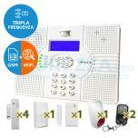 Kit SuperOKKIO con centrale a Tripla Frequenza WIFI con combinatore telefonico per linea fissa o GSM integrato (quadriband! con supporto SMS)