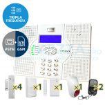 Kit SuperOKKIO con centrale a Tripla Frequenza con combinatore telefonico per linea fissa o GSM integrato (quadriband! con supporto SMS)