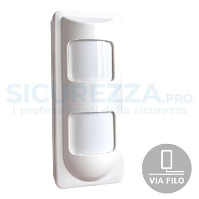 Sensore a quintupla tecnologia con tre sensori interni (doppio PIR, microonda + Pet Friendly e ASIC)